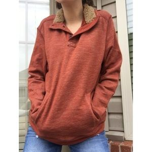 VINTAGE • Rustic Orange Pullover Sweater •